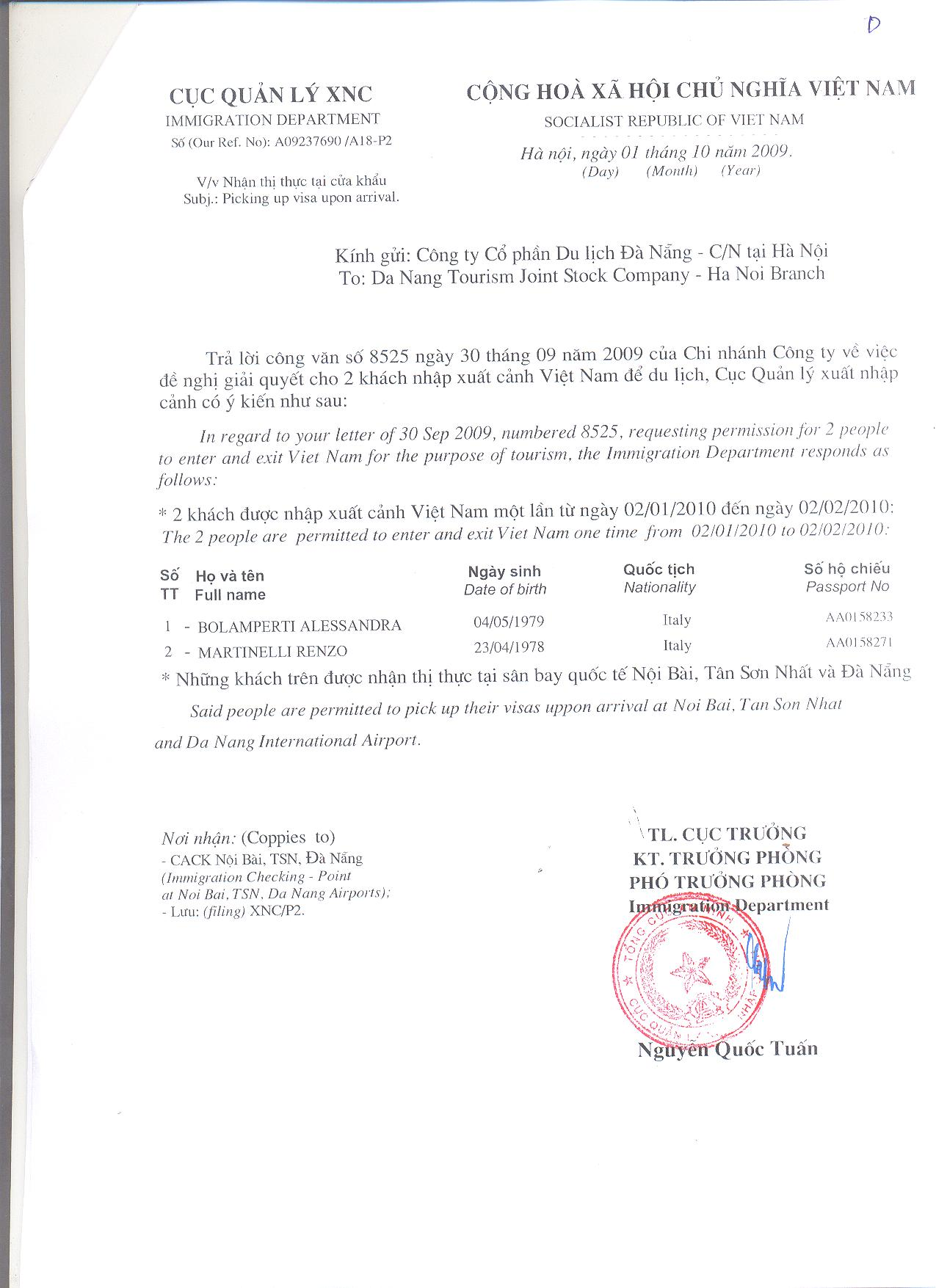 Vietnam visa service vietnam visa visa vietnam vietnam visa sample of vietnamvisa approval letter for pick visa at airport visa on arrival approval letter spiritdancerdesigns Images